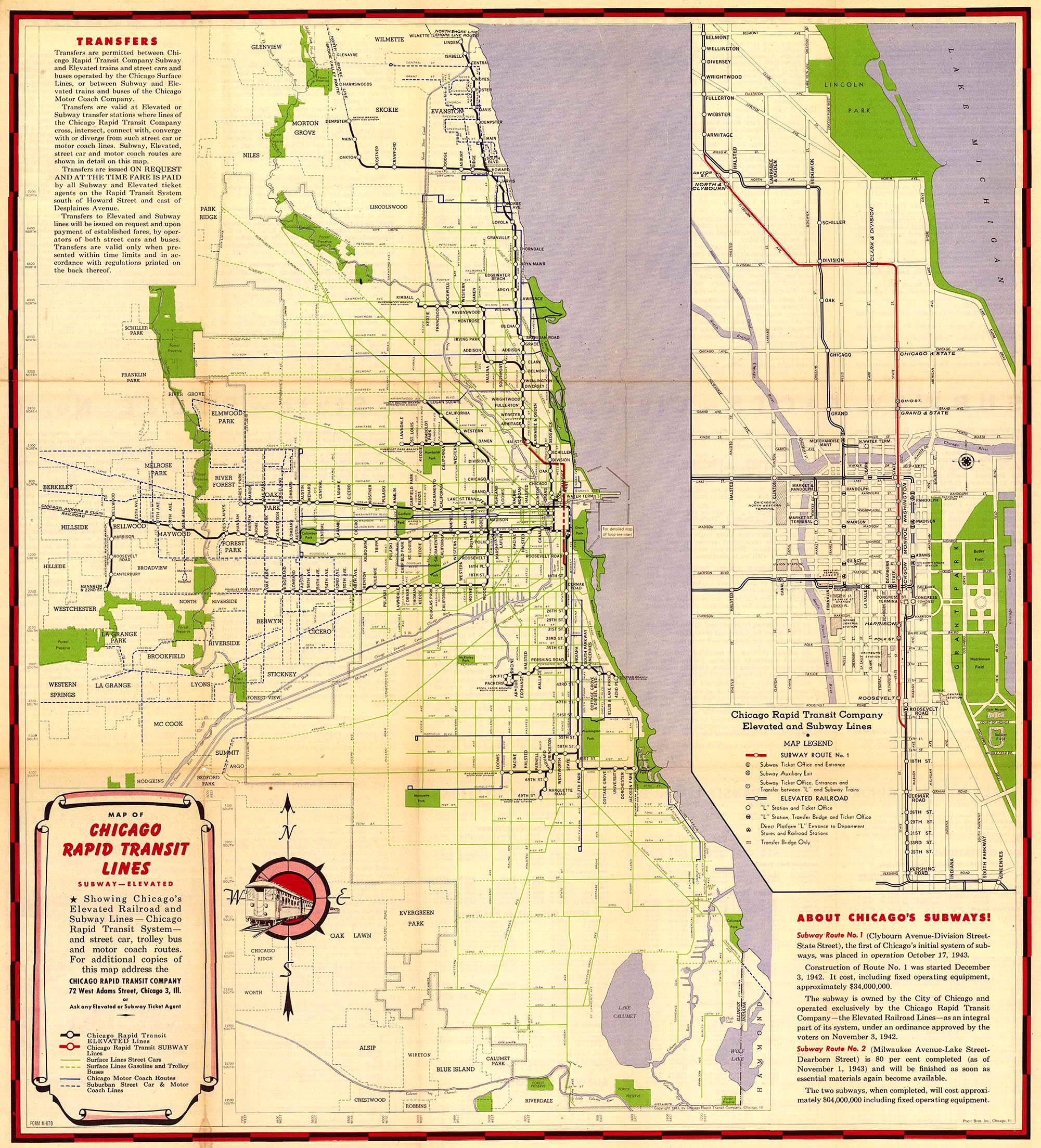 crt route map, 1946 - forgotten chicago   history